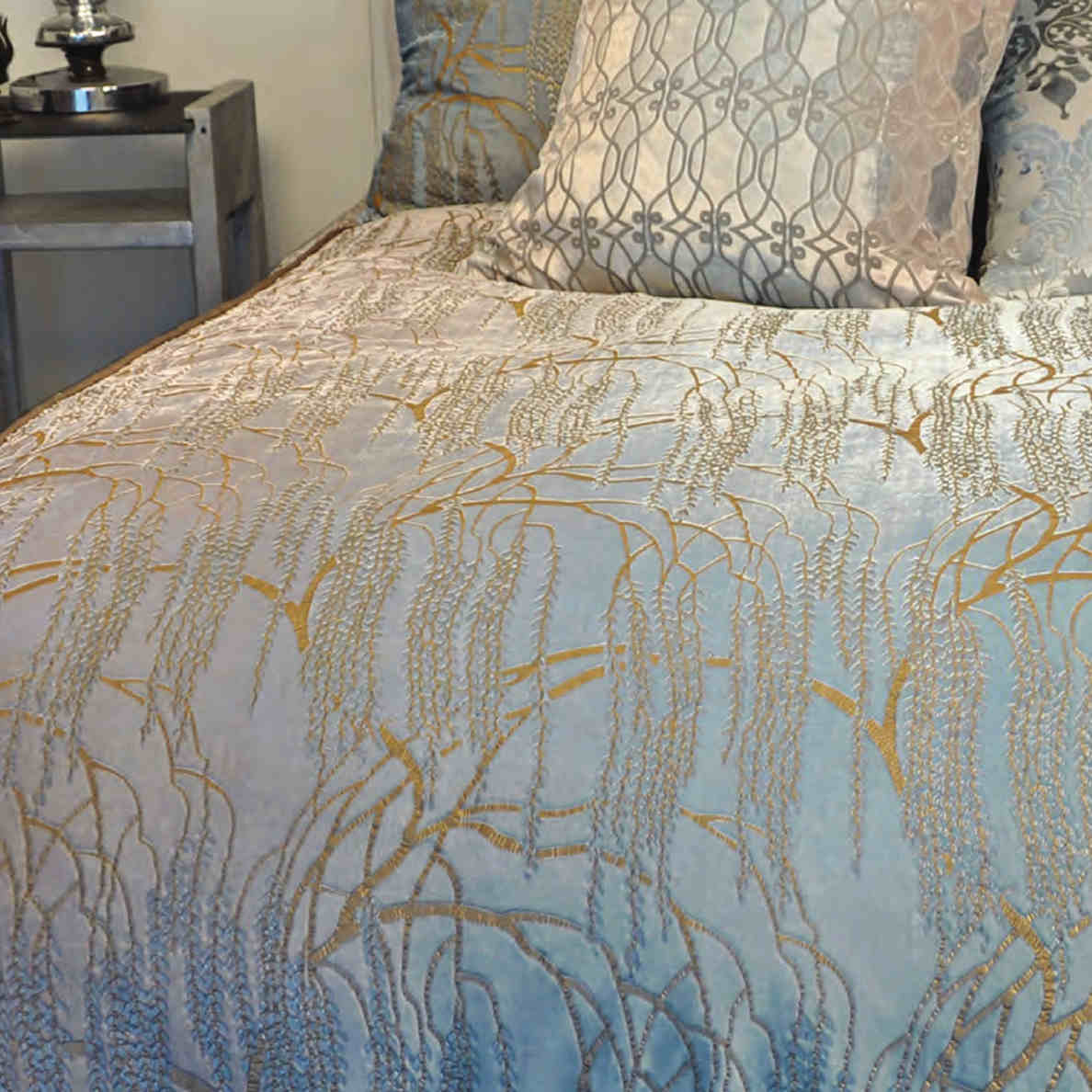Kevin Obrien Studio Bedding Metallic Willow Robin Egg