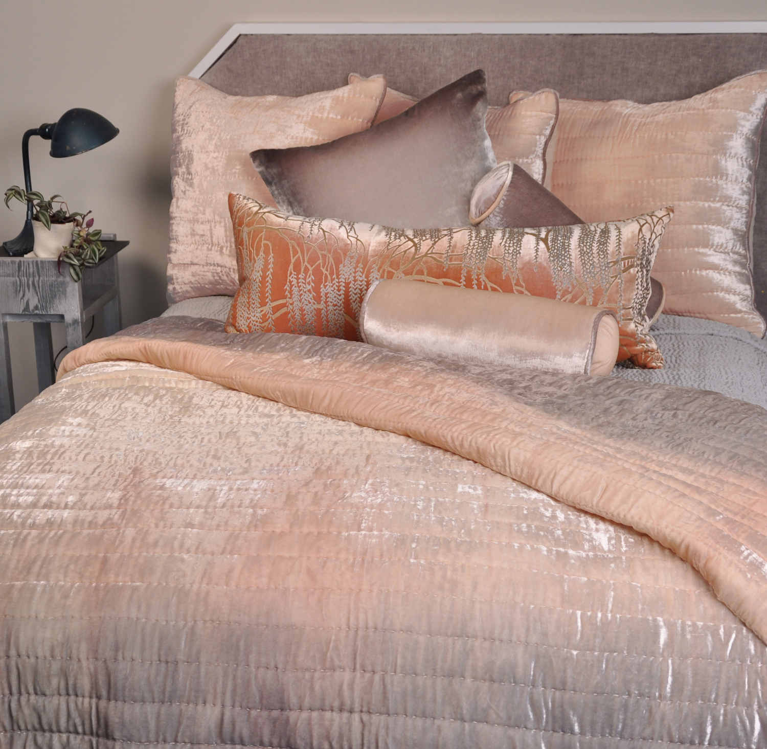 Kevin o 39 brien studio ophelia opal quilted coverlet for Bedroom ideas velvet bed