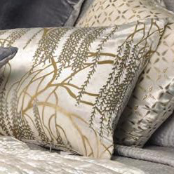 Kevin O'Brien Studio Metallic Willow Velvet Dec Pillows - Ophelia White