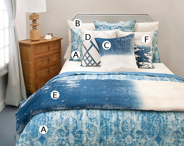 Kevin O'Brien Studio Bedding - Persian Azul Linen/Cotton - Machine Washable