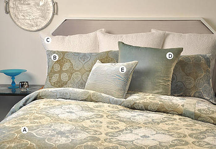 Kevin O'Brien Studio Persian velvet bedding collections includes a duvet, pillow shams, and decorative pillows