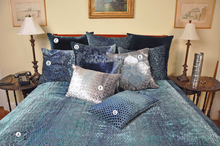 Kevin O'Brien Studio Snakeskin velvet bedding collections includes a duvet, pillow shams, and decorative pillows