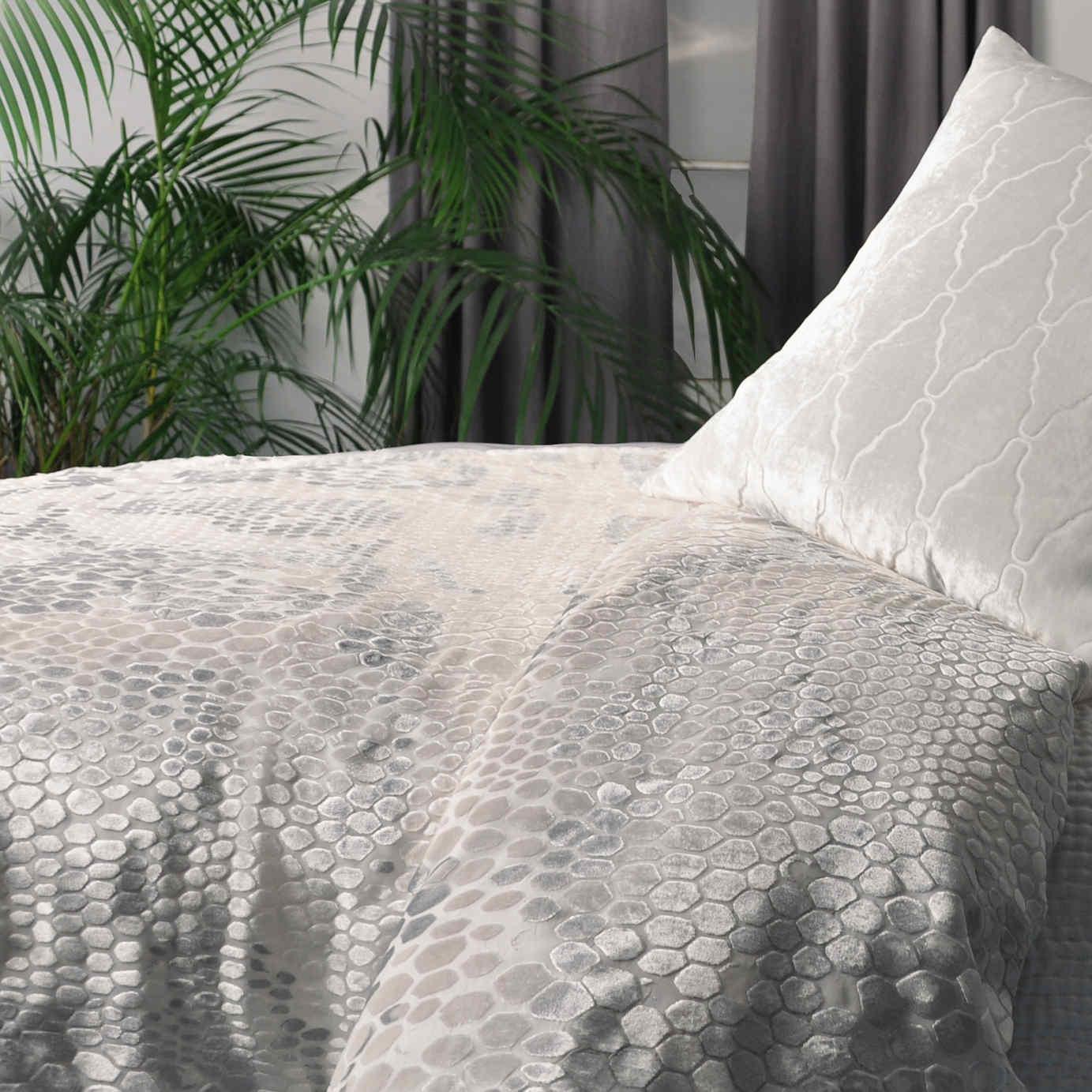 Kevin Obrien Studio Bedding Snakeskin White Velvet Bedding