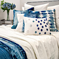 Starflower cotton ivory coverlet and sham collection -  versatile, geometric tiled pattern with a soft texture accentuated with azul (blue family) pieces.