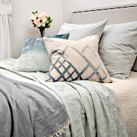 Starflower cotton seaglass coverlet and sham collection -  versatile, geometric tiled pattern with a soft texture accentuated with Coyote (blue family) pieces.
