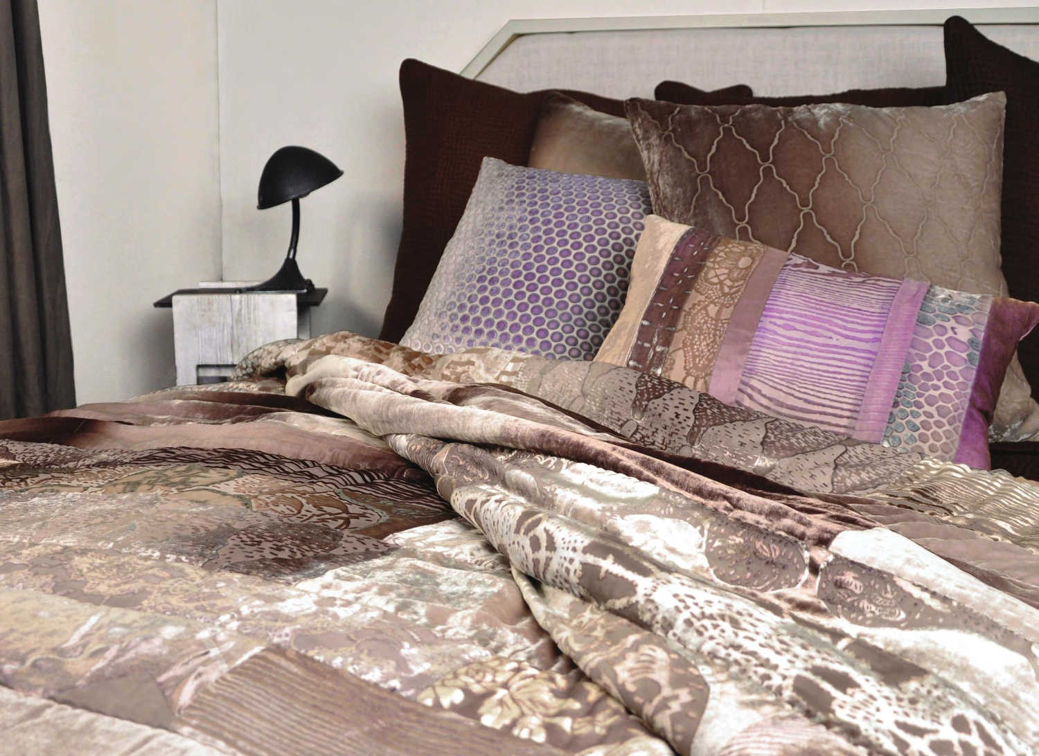 Discontinued Kevin OBrien Studio Bedding   Velvet Mosaic Patchwork Quilted  Coverlets