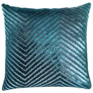 Kevin OBrien Studio Chevron Velvet Decorative Pillow - Pacific.