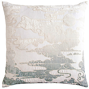 Kevin O'Brien Studio Cloud Appliqued Linen Throw Pillow