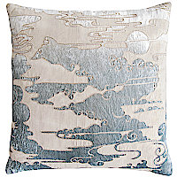 These linen pillows bring texture and pattern to the forefront with an embroidered pattern appliqu� made of our shining velvet.