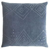 The free-form diamond patterns hand-stitched on this cotton velvet pillows lend a casual elegance to any space.