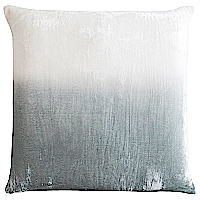 Hand-dyed color gradates across these serene dip-dyed pillows.