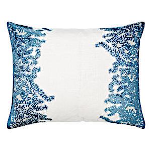 Kevin OBrien Studio Ferns Appliqued Velvet Linen Decorative Pillows - Azul (16x20)
