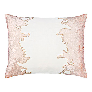 Kevin OBrien Studio Ferns Appliqued Velvet Linen Decorative Pillows - Blossom (16x20)