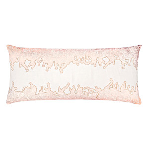 Kevin OBrien Studio Ferns Appliqued Velvet Linen Decorative Pillows - Blossom (16x36)