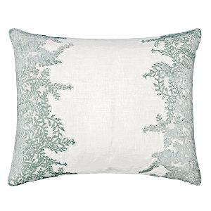 Kevin OBrien Studio Ferns Appliqued Velvet Linen Decorative Pillows - Sage/White (16x20)