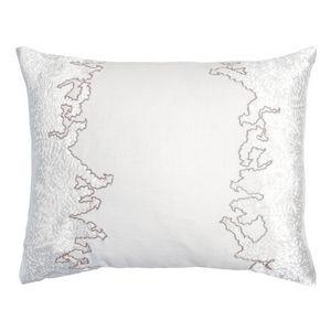Kevin OBrien Studio Ferns Appliqued Velvet Linen Decorative Pillows - Latte (16x20)