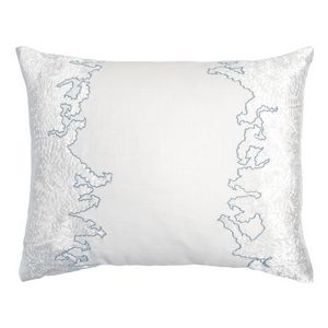 Kevin OBrien Studio Ferns Appliqued Velvet Linen Decorative Pillows - Robbin's Egg (16x20)