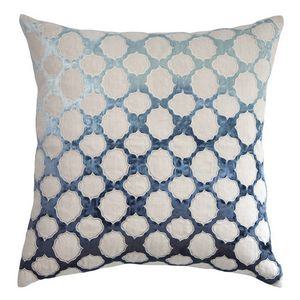 These linen pillows bring texture and pattern to the forefront with an embroidered pattern applique made of shining velvet.