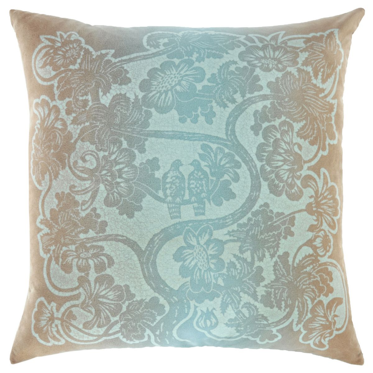 Discontinued Kevin OBrien Studio Lovebirds Glazed Cotton Velvet Dec Pillow