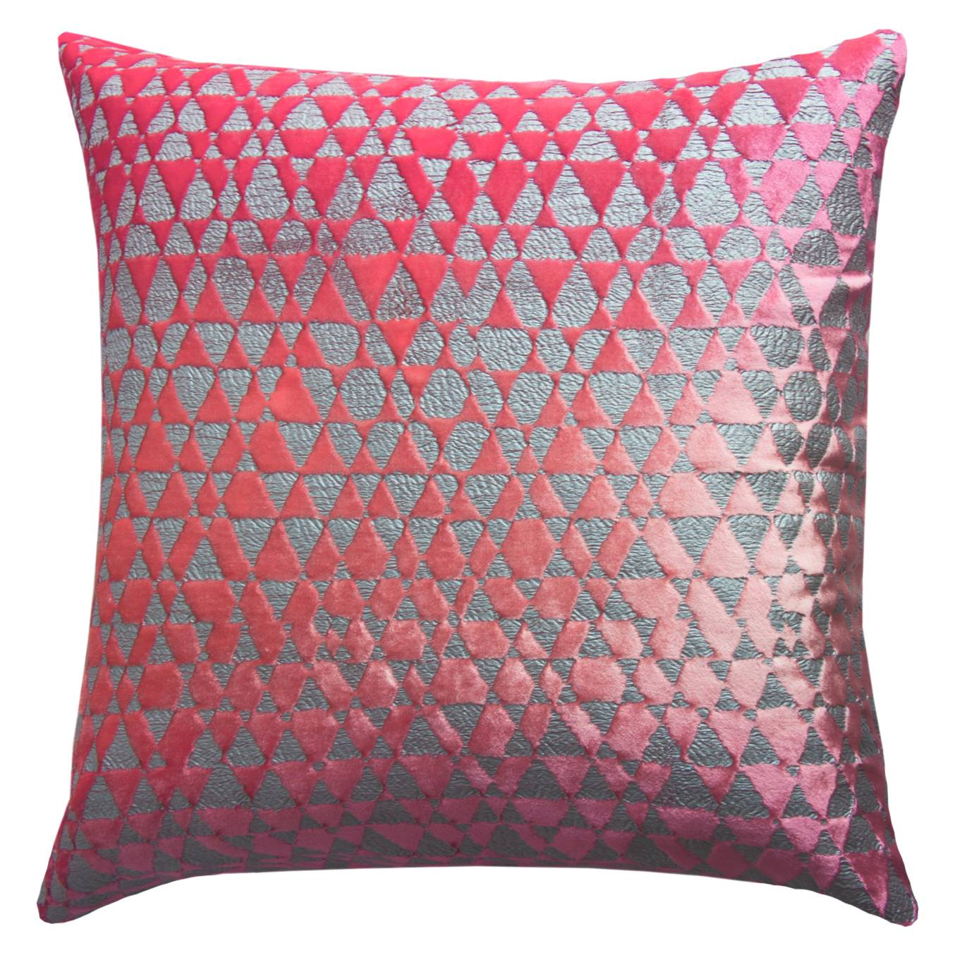 Discontinued Kevin OBrien Studio Metallic Triangles Velvet Decorative Pillow