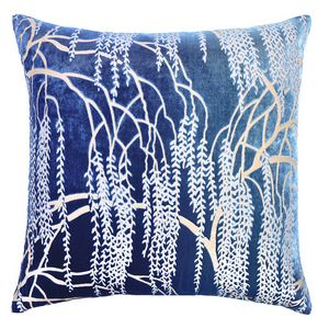 Kevin O'Brien Studio - Metallic Willow Velvet Dec Pillow - Shark