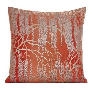 Kevin O'Brien Studio - Metallic Willow Velvet Dec Pillow - Coral