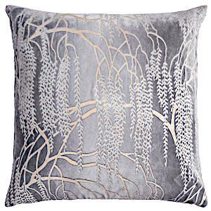 Kevin O'Brien Studio - Metallic Willow Velvet Dec Pillow - Silver Gray