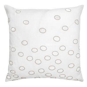 Kevin OBrien Studio Ovals Appliqued Velvet Linen Decorative Pillows - Latte (22x22)