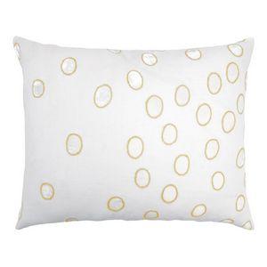Kevin OBrien Studio Ovals Appliqued Velvet Linen Decorative Pillows - Yellow (16x20)