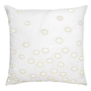 Kevin OBrien Studio Ovals Appliqued Velvet Linen Decorative Pillows - Yellow (22x22)