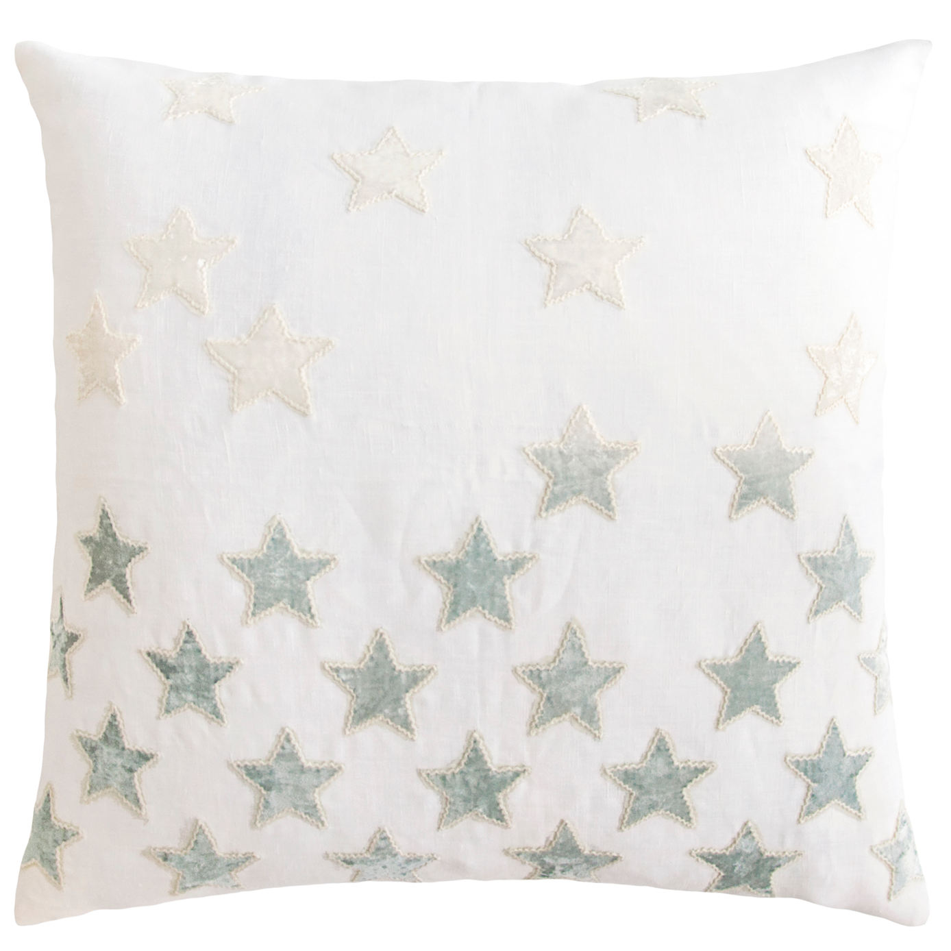 Kevin O'Brien Studio Stars Appliqued Linen Throw Pillow