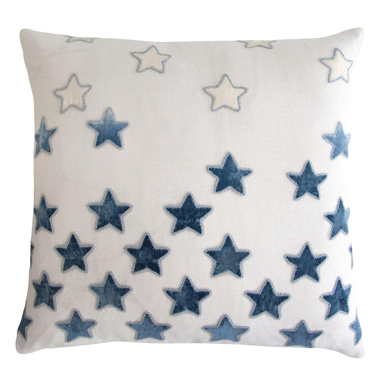 Kevin OBrien Studio Stars Embroidered Velvet Applique Decorative Pillow
