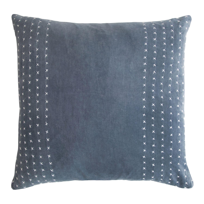 Cotton Velvet Decorative Pillows : Kevin OBrien Studio Stripe Stitched Cotton Velvet Decorative Pillow