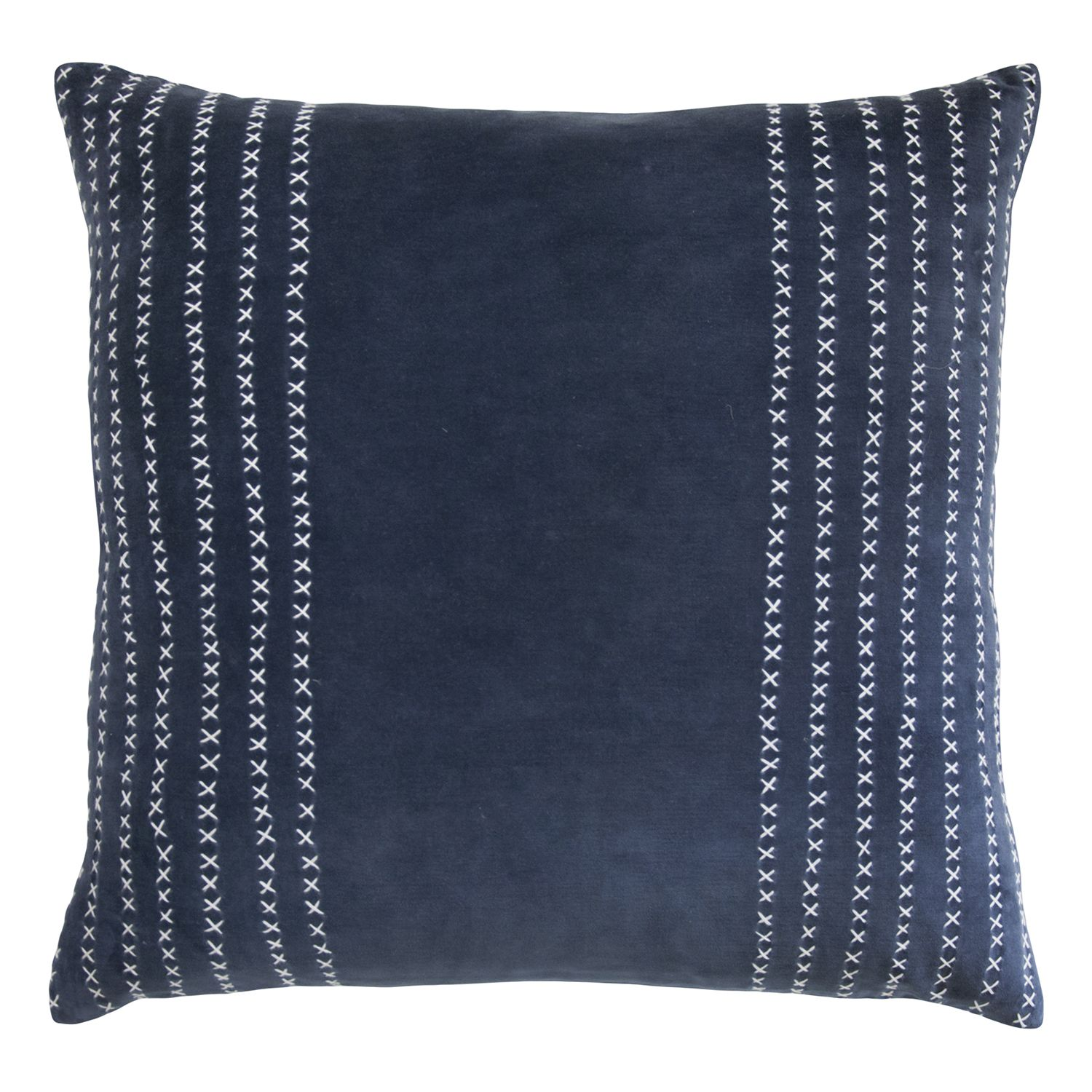 Kevin OBrien Studio Stripe Stitched Cotton Velvet Decorative Pillow