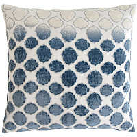 These linen pillows bring texture and pattern to the forefront with an embroidered pattern appliqu� made of shining velvet.