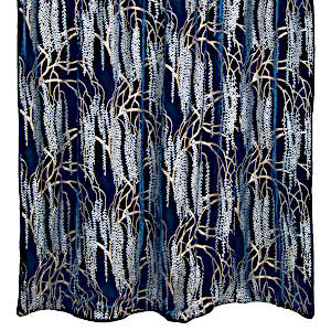 Kevin O'Brien Studio Cobalt Black Willow Velvet Throws are made with silk and rayon.