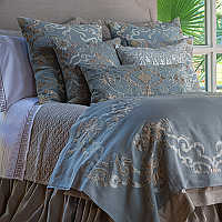 Lili Alessandra Valencia collection of slate linen with fawn velvet pillows.