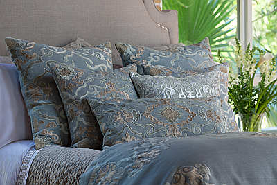 Lili Alessandra Valencia Slate Linen with Fawn Velvet Pillows & Bedding Collection