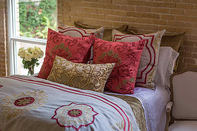 Lili Alessandra Barcelona Stone Linen/Cinnabar/Straw Pillows & Bedding Collection