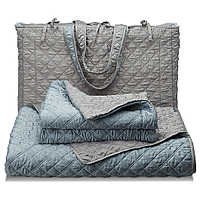 Silver and blue reversible has the look and feel of silk but is made of 100% polyester and is 100% machine washable.