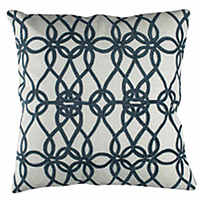 Bold, geometric, classic decorative pillows in midnight blue.