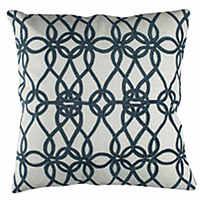 Bold, geometric, classic decorative pillows in midnight blue.