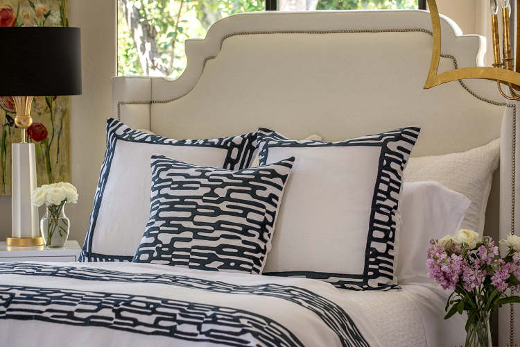 Lili Alessandra Christian White Linen with Midnight Velvet Applique Bedding Collection