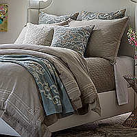 Stone Linen with Stone Linen Applique Casablanca duvet assorted with Valencia pillows will create an engaging contrast that will please any connoisseur of fine decorating.