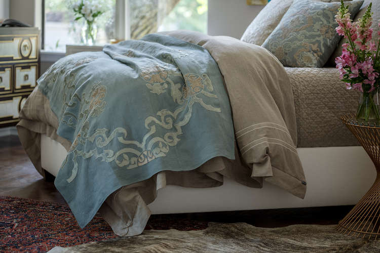 Lili Alessandra Casablanca with Accents of Slate Bedding