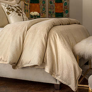 Lili Alessandra Sohia Ivory Linen & Cotton with Gold Lurex Duvet