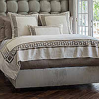 The Dimitri Ivory Basketweave pillows and throw with Fawn Velvet applique, a beautiful Greek key applique design.