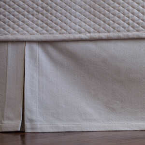 Lili Alessandra Laurie Solid Ivory Basketweave Tailored 3 Panel Bed Skirt