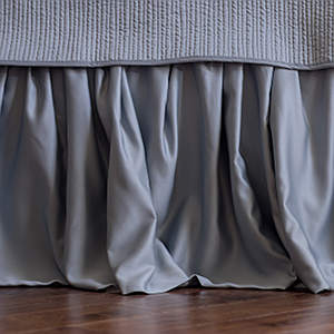 Lili Alessandra Blue Sense & Sensibility Gathered Bed Skirt