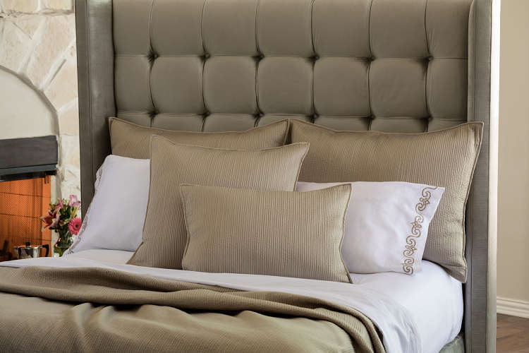 Lili Alessandra Retro Quilted - Taupe Coverlet and Pillow Collection